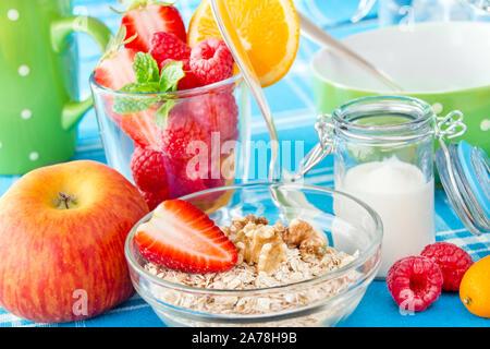 Haferflocken, Obst und Joghurt. - Stockfoto