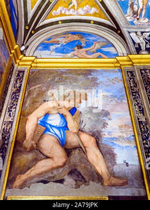 "Das Fresko ""Polifemo e le Lunette' (Polyphemus und den Stichkappen) von Sebastiano del Piombo in der Loggia von Galatea der Villa Farnesina - Rom, Italien - Stockfoto"