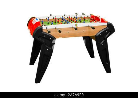 Tischfußball auf Weiß isoliert. Fußball Tabelle isoliert. Fußball-Tabelle auf einem weißen Hintergrund. - Stockfoto