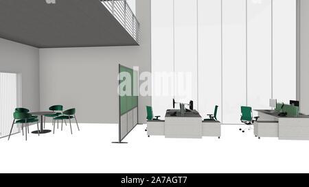 3D-Illustration moderne Büro Arbeitsplatz Loft
