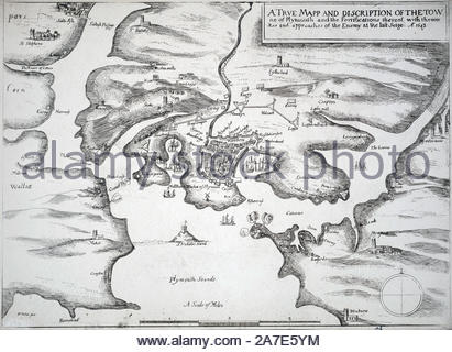 Vintage Karte von der Belagerung von Plymouth, die während der Englischen Bürgerkrieg, in den Hafen von Plymouth, Devon, England war von August 1642 bis Januar 1646 belagerten die royalistischen Truppen König Charles I, Radierung von Böhmische Kupferstecher Wenzel Hollar aus 1600 nahm - Stockfoto