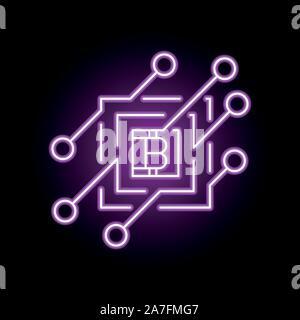 Blockchain vektor Konzept Symbol oder Element der Gestaltung in Neon Stil. - Stockfoto