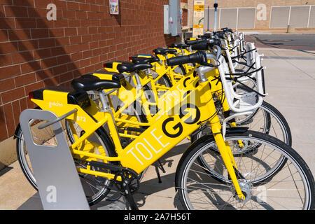 Toledo, OH - September 21, 2019: Toledo, Ohio TOLEGO Bike Share Station - Stockfoto