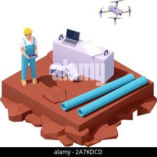 Vektor isometrische drone Umfrage auf der Baustelle - Stockfoto