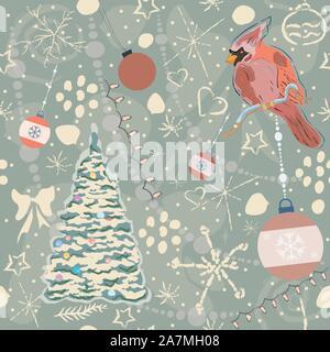 Cute Winter Hintergrund mit schönen Vogel und Weihnachtsbaum, Pastell-blaue Hintergrund mit unterschiedlichen doodles. Vector Illustration - Stockfoto