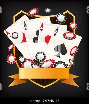 Poker Ace Fahne Emblem mit Münzen und Karten Vector Illustration. - Stockfoto