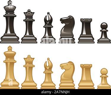 Schachfiguren in Schwarz und Weiß Vektorgrafiken - Stockfoto