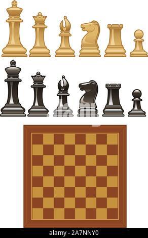 Der Vektor Schachfiguren und Board vektorsymbol Illustrationen. - Stockfoto