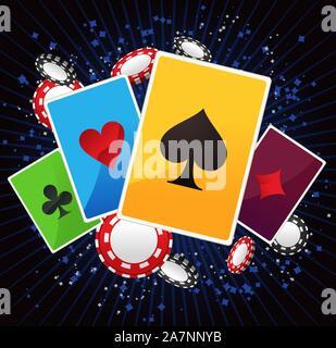 Bube, Dame, König und Ass poker Anzüge mit leuchtenden blauen Linien und poker Münzen Vector Illustration. - Stockfoto