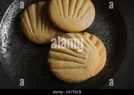 Aberffraw Kekse oder Teisen Berffro eine traditionelle walisische Shortbread aus Anglesey aus dem 13. Jahrhundert mit Butter Mehl und Zucker dating - Stockfoto