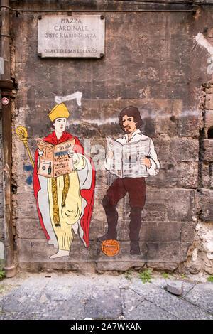 Ein wandbild von San Gennaro und Caravaggio von neapolitanischen Künstler, Roxy in der Box, an einer Wand im Stadtzentrum von Neapel. - Stockfoto
