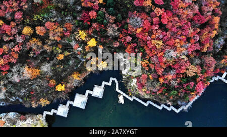 Jinan. 4 Nov, 2019. Luftaufnahme auf Nov. 4, 2019 zeigt die Herbst Landschaft des Jiuru Berg in Jinan, Provinz Shandong im Osten Chinas. Credit: Wang Kai/Xinhua/Alamy leben Nachrichten - Stockfoto