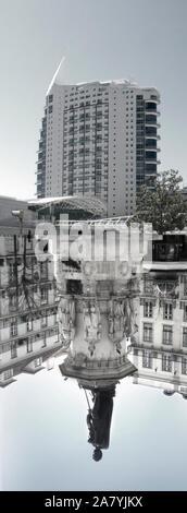 Moderne vs klassische Architektur von Lissabon, Portugal. - Stockfoto