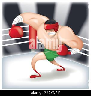Zeichentrickfigur Boxer im Boxring - Stockfoto