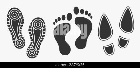 Schwarze Fußspuren Symbol auf weißem isoliert. - Stockfoto