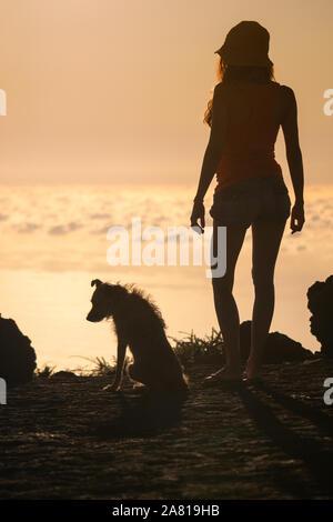 Silhouette von Mädchen mit Welpen auf Sonnenuntergang - Stockfoto
