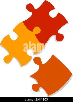 Puzzleteile, Illustration, Vektor auf weißem Hintergrund. - Stockfoto