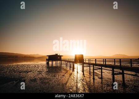 Sonnenaufgang auf einem Pier in Point Reyes