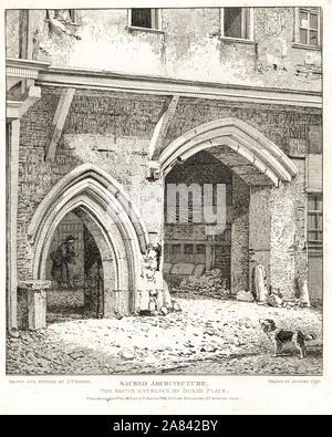Eingang Süd des Herzogs Palast, 1790. Kupferstich erstellt und von John Thomas Smith aus seiner Topographie von London, 1814 geätzt. - Stockfoto