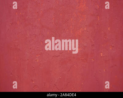 Detail der alte rot bemalten Wand Stuck, close-up - Stockfoto