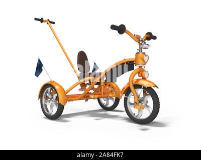 Orange Kinderfahrrad mit ausziehbaren isoliert 3D-Render auf weißem Hintergrund Griff mit Schatten - Stockfoto