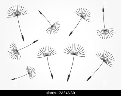 Löwenzahn puff Samen fliegen. Vector Illustration. - Stockfoto