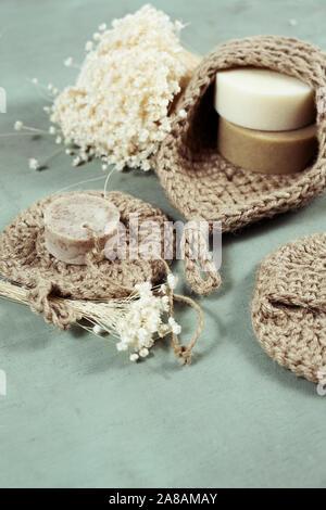 Umweltfreundliche Reinigungsmittel kit Organische Seife jute Waschlappen. Null Abfall, Kunststoff-frei