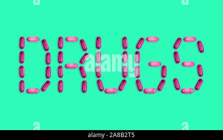 Das Wort Drogen heraus mit Pillen festgelegt ist. Das Wort Drogen heraus mit Gel Pillen auf grünem Hintergrund mit Kopie Platz für Text vorgesehen ist. - Stockfoto