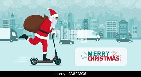 Futuristische Weihnachtsmann die Geschenke auf einen elektrischen Kick scooter in der Stadt zu Weihnachten - Stockfoto