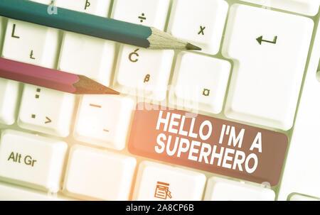 Text Zeichen angezeigt Hallo ich M ein Superheld. Business Foto Text den Glauben an sich selbst Selbstvertrauen Einführung Weiß pc-Tastatur mit leeren Papier - Stockfoto