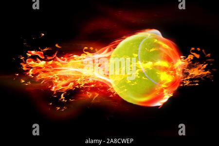 Hohe Qualität Rendern von 3D Tennis ball brennt in Flammen auf schwarzem Hintergrund. 3D-Rendering. - Stockfoto
