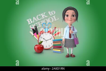 Süße kleine Mädchen ist vor einer Zurück in die Schule text Doodle mit Schule stationaries auf grünem Hintergrund mit mehreren Positionen für Bildung - Stockfoto