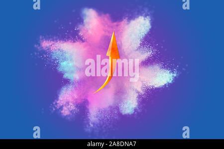 Business Plan finanzielle graph Symbol auf abstrakte Pastell Koralle lila und blau Farbe Farbe mit blauen Hintergrund. Fluid kreatives Konzept Zusammensetzung wi - Stockfoto