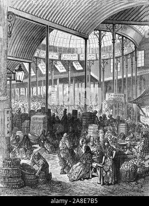 """""""Borough Market', 1872. Markt in Southwark von Henry stieg in 1851 konzipiert. """"LONDON. Eine Pilgerreise"""" von Gustave Dore und Blanchard Jerrold. [Grant und Co., 72-78, Turnmill Street, E.C., 1872]. - Stockfoto"""