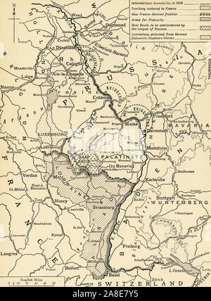 Karte Mit Franco Deutschen Grenze Ersten Weltkrieg Stockfoto