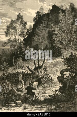 """""""Eagle Rock, Orange"""", 1874. Artist skizzieren Eagle Rock, die die Grenze zwischen den Städten von Montclair und West Orange, New Jersey, USA. """"Eagle Rock ist hoch aufragenden in majestätischen Pracht gesehen, wie Fett und robust wie Wenn nur die rot-Männer dieser bezaubernden Region bewohnt. Die Adler, die es seinen Namen gab, sind jetzt aber selten gesehen; aber die Grauen, geschrammte Projektion für das Auge scheint so fern und so trostlos, wie er in der Tat war das Haus des """"König der Vögel"""". Von """"Malerische Amerika; oder, in das Land, in der wir leben, eine Abgrenzung durch Kugelschreiber und Bleistift auf die Berge, Flüsse, Seen... mit Kranken"""
