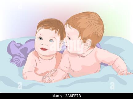Zwei süße Babys, Zwillinge, Brüder, Schwestern, Bruder und Schwester. Vector Illustration - Stockfoto