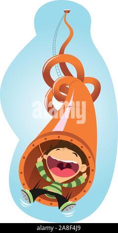 Super-Spaß-Rutsche Rohr Vergnügungspark Cartoon Illustration - Stockfoto