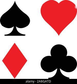Satz Spielkarten Symbol auf weißem Hintergrund. Flat Style. card suit Symbol für Ihre Web site Design, Logo, App, UI. poker Card Symbol passt. Einstellen des Spiels - Stockfoto