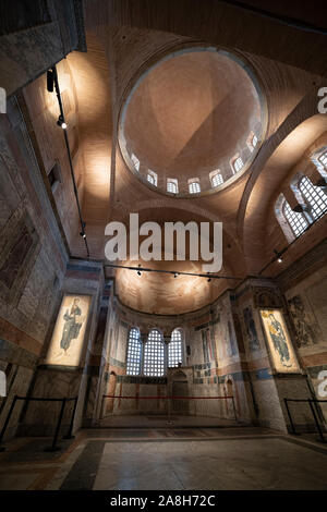 Weitwinkel Interior Detail von Chora Museum, einem mittelalterlichen, byzantinischen Griechisch-orthodoxe Kirche bewahrt als die Chora Museum in Edirnekapi, Istanbul. - Stockfoto