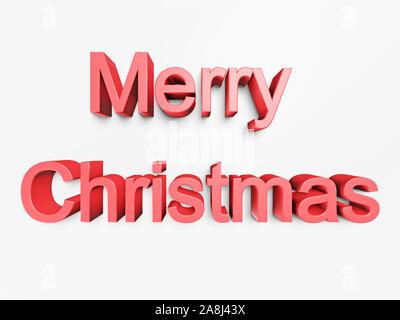 Roter Text Frohe Weihnachten isoliert auf weißem Hintergrund. 3D-Rendering - Stockfoto