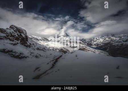 Gornergletscher, in den Walliser Alpen, Schweiz. Gornergrat, in der Nähe des Matterhorns/Cervino. - Stockfoto