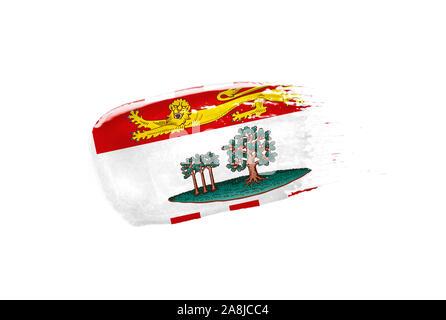 Gemalt Flagge von Prince Edward Island auf weißem Hintergrund. - Stockfoto