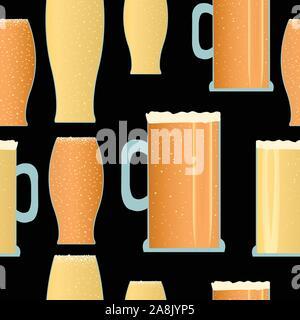 Nahtlose Muster mit Biergläsern und schwarzem Hintergrund, Vektor - Stockfoto