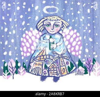 Engel mit Weihnachtsbaum in den Händen von der winterlichen Landschaft Hintergrund. Märchenhafte Winter Weihnachten Abbildung. - Stockfoto