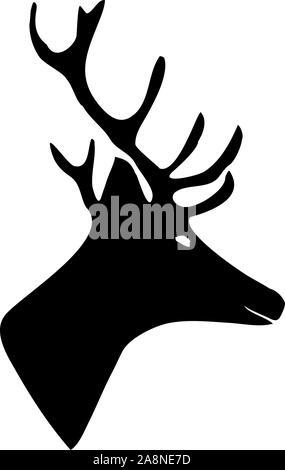 Schwarze Silhouette eines Hirsches. Vector Illustration auf isolierte Hintergrund. - Stockfoto