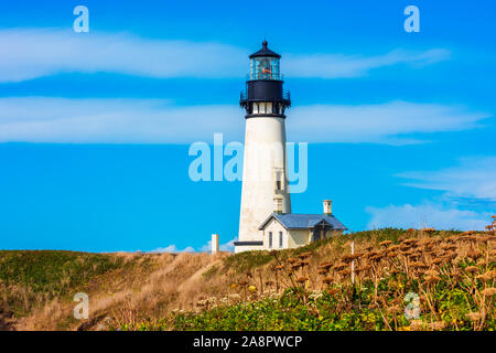 Detailansicht der Yaquina Head Lighthouse in Newport, Oregon, USA - Stockfoto