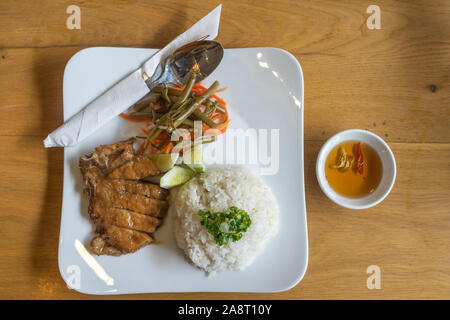 Ansicht von oben Foto von Vietnam Schweinefleisch kaputt hacken Reis - Stockfoto