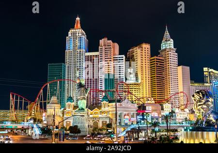 New York - New York Komplex mit einer Nachbildung der Freiheitsstatue in Las Vegas, Nevada, USA - Stockfoto