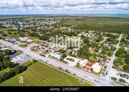 Florida Indiantown Route 710 Warfield Boulevard Seminole Inn Hotel aerial overhead Vogelperspektive über - Stockfoto